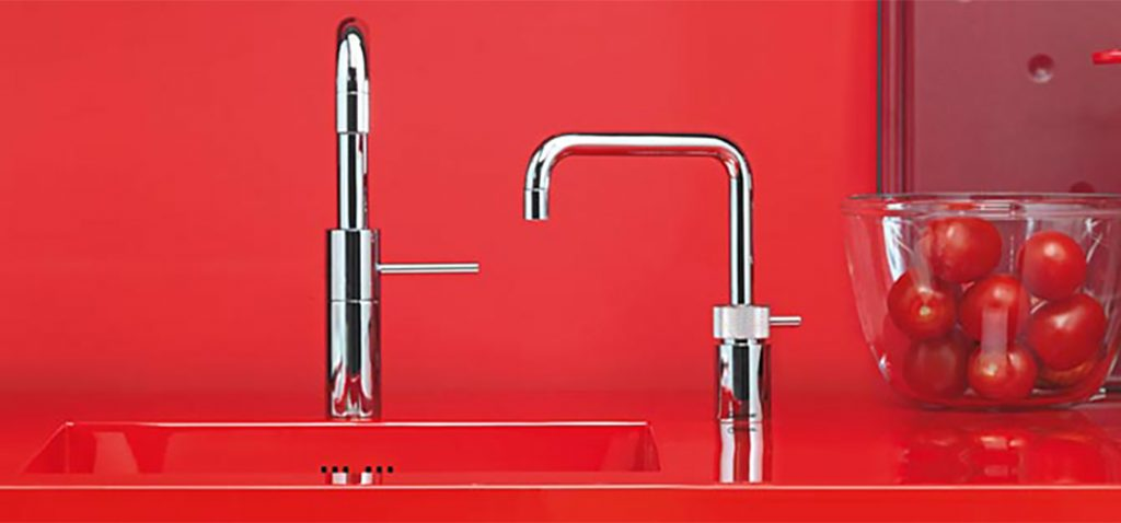 Image of red Quooker tap.